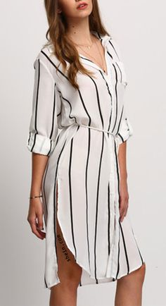 A shirt dress can be so versatile with leggings , skirts or just as a dress with heels. Totaly a icon item you need! Shein design.