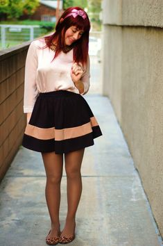 this look from the ModCloth Style Gallery! Cutest community ever. Pantyhose Outfits, Tights Outfit, In Pantyhose, Skirt Outfits, Cool Outfits, Fashion Outfits, Formal Dress Shops, Pinup Girl Clothing, Midi Dress With Sleeves