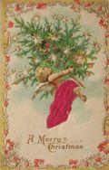 Angel Holds Christmas Tree Vintage Postcard