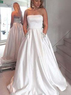 cc8a36ec04e Strapless White Satin Long A-line Prom Dresses