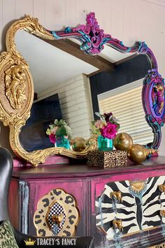 I couldn't decide between gold leaf or colorful chalk paint...so I went with both! Click over to the blog for all the details on this antique mirror makeover. Tracey Bellion Tracey's Fancy Gold Leaf Sheets Dixie Belle Chalk Paint Color Palette Peony Plum Crazy The Gulf Honky Tonk Red Lucky Lavender Amethyst Cobalt Blue DIY Antique Gold Mirror Gold Leaf Mirror Colorful Mirror Whimsical Furniture Leopard Print Furniture Gold Home Decor Red Painted Furniture, Painted Armoire, Colorful Furniture, Paint Furniture, Furniture Makeover, Paint Color Combos, Paint Color Palettes, Chalk Paint Colors, Leaf Projects