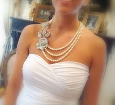 Bridal statement necklace, pearl necklace with Swarovski crystal pendant and Swarovski pearls. $125