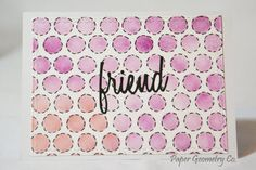 A Friendship Card featuring a purple and red ink blended background in a fun geometric print. The sentiment is black card-stock. This card is on white card-stock and comes with a matching white envelope.  The perfect any occasion card for a friend.  All of my cards are back-stamped with a Paper Geometry Co. stamp.   >> Quantity: One (1)  >> Style: Friend card, blank inside  >> Size: 5 x 4.5  >> Materials: card-stock, paper, ink, paint, glossy accents  >> Packagin...