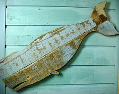 Whale Sign Beach House Decor Original Blue One of a Kind Weathered Wood Wooden Whale
