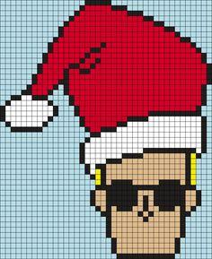 Johnny Bravo Christmas (Square) Perler Bead Pattern / Bead Sprite