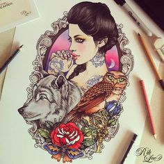 Girl with a wolf, owl and rose tattoo