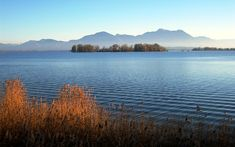 Chiemsee (Bavaria, Germany) and Chiemgau Alps. First considerable peak from right is Zwölferspitz, then Hochgern, Weißgrabenkopf (last of first range), then Hochfelln, Rauschberg and Zenokopf  by waterborough, Wikipedia, 2006