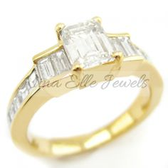 Emerald Cut Three Stone Style Yellow Gold Diamond Engagement Ring With Asscher Cut Accents