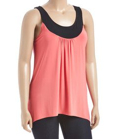 Loving this Coral & Black Yoke Neck Top - Plus on #zulily! #zulilyfinds