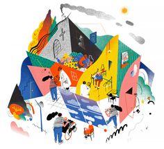 Gizem Vural, The New Yorker, 11 février 2016 Art And Illustration, People Illustration, Illustrations And Posters, Robert Crumb, Modern Graphic Design, Graphic Design Inspiration, Funky Design, Simon Roussin, Tom Haugomat