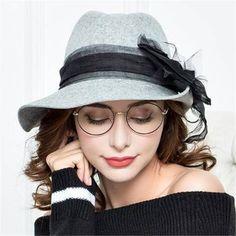 9eec13a15b3db Large bow felt fedora hat for women fashion winter trilby wool hats