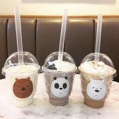 We Bare Bears Smoothie Glace Fruit, Cute Food, Yummy Food, We Bear, Bear Wallpaper, We Bare Bears, Bubble Tea, Milk Tea, Aesthetic Food
