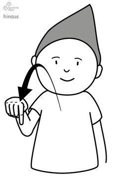 hinaus Babyzeichen Babyzeichensprache Gebärdensprache Babygebärden Kindergebärden GuK