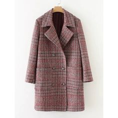 SheIn(sheinside) Double Breasted Check Coat (731.700 IDR) ❤ liked on Polyvore featuring outerwear, coats, red, long plaid coat, plaid coat, checkered coat, tartan coat and double breasted long coat