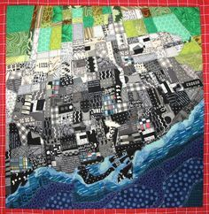 Cartographic art quilt by Valerie Goodwin