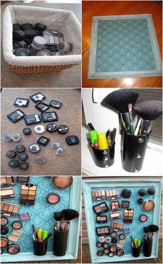 DIY-Make-Up-Magnet-Board, makeup storage ideas Diy Makeup Storage, Make Up Storage, Makeup Organization, Diy Storage, Storage Ideas, Magnetic Storage, Storage Organizers, Bathroom Storage, Do It Yourself Fashion