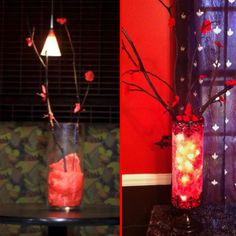 I saved some flower sticks that we made for the table center pieces at our wedding (left) and made my own except with a prettier vase and red lights inside (right).