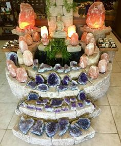 Amethyst and Salt Lamps Crystal Room, Crystal Magic, Crystal Grid, Minerals And Gemstones, Rocks And Minerals, Salt Rock Lamp, Crystals Store, Crystal Aesthetic, Himalayan Salt Lamp