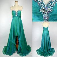 Cheap 2013 New Style A Line Strapless Sweetheart With Crystal Front Short Long Back Chiffon Prom Evening Dresses
