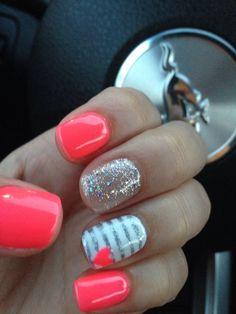 26 Nail Art Ideas Perfect For Short Nails - Manicure ideas 💅 Orange Nail Designs, Short Nail Designs, Nail Art Designs, Nail Designs For Kids, Bright Nail Designs, Cute Nails, Pretty Nails, My Nails, Nails 2014