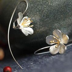 Arete rosa dorada real Sterling plata 925 señora Flor aretes flor