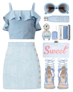 """""""Staying Up"""" by apollinariya-664 ❤ liked on Polyvore featuring Balmain, Miss Selfridge, Edie Parker, Gentle Monster, Marc Jacobs, Clinique, Drybar, marcjacobs, balmain and RetroSunglasses"""