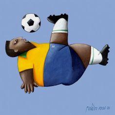 Pelé ~ by Brazilian artist Gustavo Rosa (São Paulo, 1946-2013)