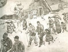 People Walking in Front of Snow-Covered Cottage, 1890, Vincent van Gogh  Medium: pencil on paper