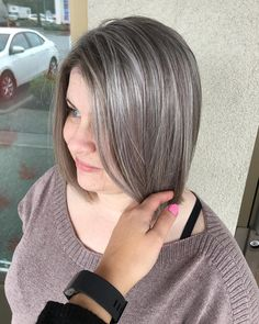 Added some grey highlights to help blend her natural grey hair ❤ @jesswind