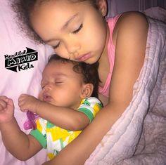 Rhaelee - 5 Years & Annaleigha - 3 Months • African American, Indian & Caucasian ♥️♥️ FOLLOW @BEAUTIFULMIXEDKIDS http://instagram.com/beautifulmixedkids