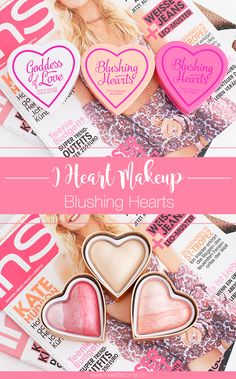 I Heart Makeup Blushing Hearts: Peachy Pink Kisses Blush, Bursting With Love Blush and Golden Goddess Highlighter