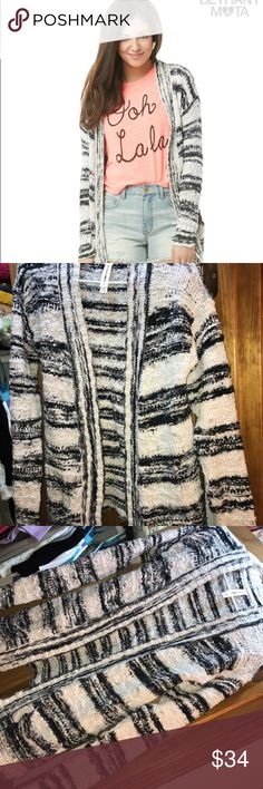 Striped Cardigan Bethany Mota Collection Striped drape sweater cardigan from Bethany Mota Collection at Aeropostale, it has only been worn a few times. In very good condition. Bethany Mota Collection Sweaters Cardigans