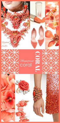 Pantone just unveiled its color of the year for 2019 – vibrant, yet mellow, Living Coral embodies the desire for playful expression while it symbolizes our innate need for optimism and joyful pursuits. Coral Pantone, Pantone Color, Colour Combinations Fashion, Fashion Colours, Coral Fashion, Colorful Fashion, Fashion Spring, Coral Color, Coral Pink