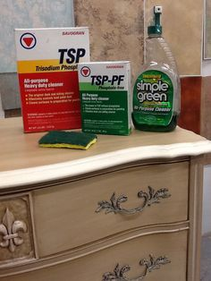 We recommend these products for prepping your furniture before painting it. Dresser cleaned and painted with Paint Couture!(TM) and Glaze Couture!(TM)