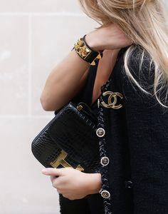 Chanel boucle jacket, Chanel brooch, Hermes bracelet & Hermes Constance bag