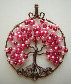 Beautiful Pink ValentineThemed Tree of Life by RachaelsWireGarden, $40.00