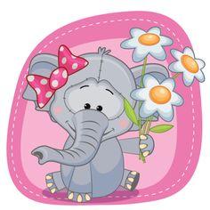 Elefante com flores - ilustração de arte em vetor