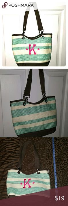 """Thirty one small tote This is adorable. Teal and cream striped brown bag with a pink K. 5"""" wide at bottom and 13"""" long. Used only once. It just too small for all my crap. Lol.  straps can come off to be interchangeable.  Comes from a smoke free home. Thirty-one Bags Totes"""