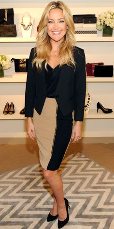 At the Clinton Global Initiative 2013, Kate Hudson looked the part in a business-chic getup. Decked head-to-toe in Ann Taylor, she wore a faux leather trim jacket, color-block skirt and suede quilted pumps.