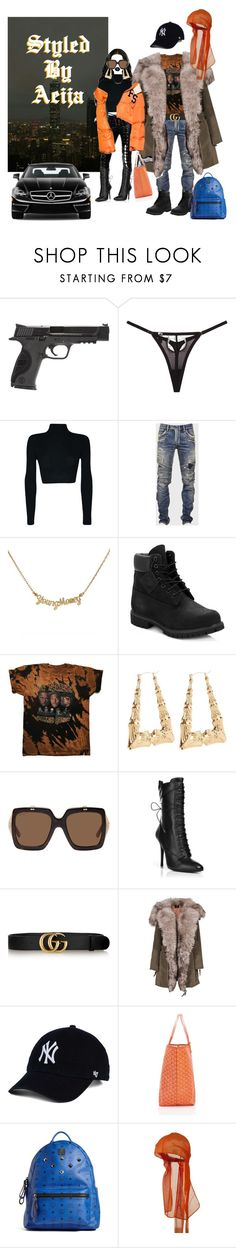 """He let me push the benz"" by lilcud ❤ liked on Polyvore featuring Smith & Wesson, Balmain, Timberland, Gucci, SLY 010, Goyard, MCM and Mercedes-Benz"