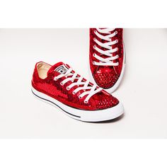 16ad2770876e Tiny Sequin - Starlight Red Canvas Converse® Low Top Sneakers Tennis Shoes  with Red Rhinestone Glitter Toes by Princess Pumps