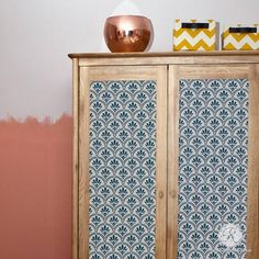 Flower Scallop Furniture Stencils inspired by African design. The geometric floral pattern for decorating dressers and tables with an ethnic or retro look.