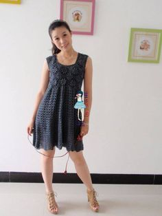 Gray Motif Dress free crochet graph pattern