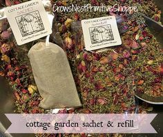 Cottage Garden Sachet Bag or Refill  dried by crowsnestprimitive