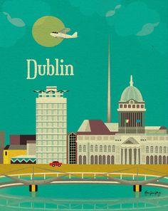 Dublin, Ireland Wall Art - European Travel Destination Poster - Prints for Office, Home, and Nursery Room E8-O-DUB. $26.00, via Etsy.