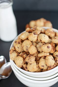 Healthier homemade cookie crisp cereal. Oatmeal, whole wheat flour, mini chocolate chips. Probably a little snack for our house more than to be used as cereal.