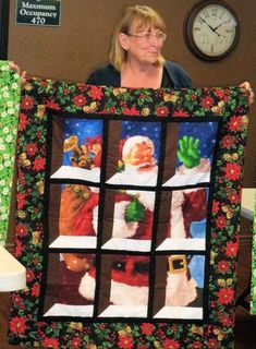 Santa in the Window Quilting, Santa, Windows, Frame, Home Decor, Picture Frame, Window, Scraps Quilt, A Frame