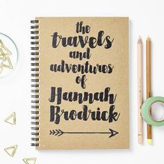A personalised 'travels and adventures' A5 notebook. The perfect journalling gift for a newbie traveller.