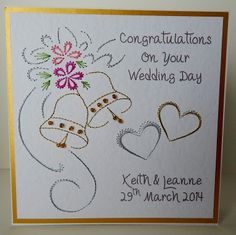 wedding card Card Patterns, Stitch Patterns, Wedding Paper, Wedding Cards, Congratulations On Your Wedding Day, Stitching On Paper, Diy And Crafts, Paper Crafts, Embroidery Cards