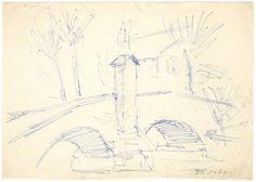 E. Besozzi pitt. s.d. (1955) Paesaggio biro su carta cm. 12,2x17,2 arc. 487